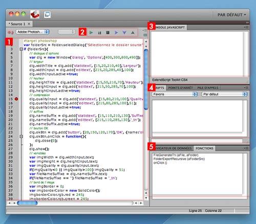 fenêtre Adobe ExtendScript Toolkit sur MacOS X